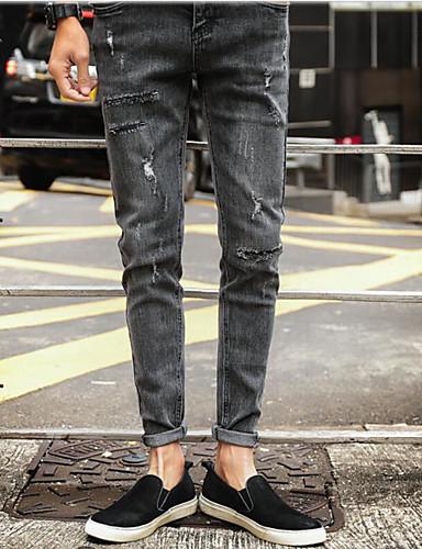 Herre Enkel Mikroelastisk Jeans Bukser,Tynn Mellomhøyt liv dratt Trykt mønster