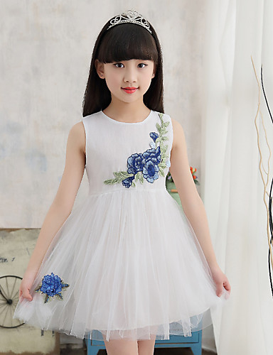 Girl's Embroidered Dress,Cotton Acrylic Summer Sleeveless Floral White