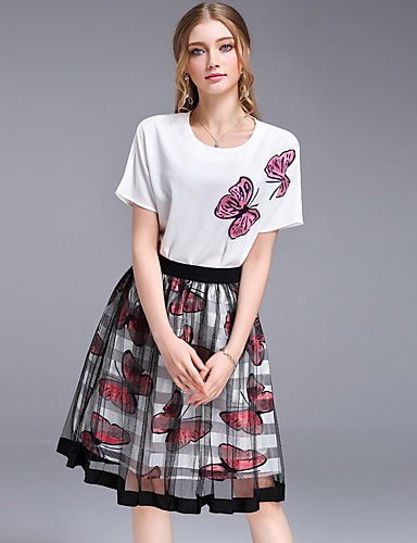 Women's Holiday Going out Casual Cute Summer T-shirt Skirt Suits