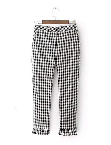 Women's Mid Rise Micro-elastic Loose Wide Leg Chinos Pants,Street chic Check Cotton Summer