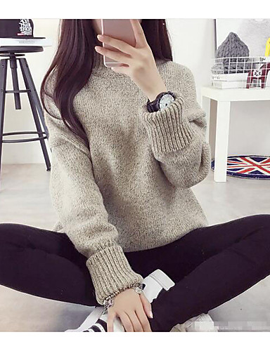 Women's Daily Long Pullover,Solid Round Neck Long Sleeves Cotton Fall Medium Micro-elastic
