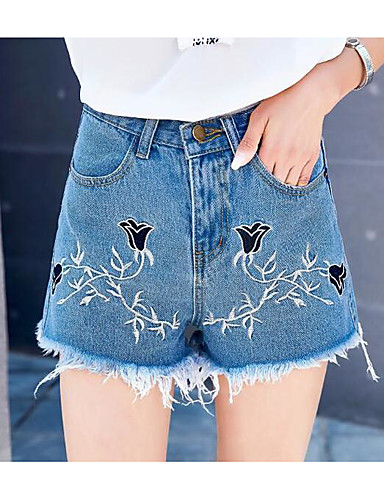 Women's High Rise Micro-elastic Jeans Shorts Pants,Simple Slim Print