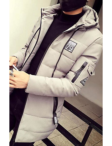 Men's Padded Coat,Simple Active Daily Casual Solid Pattern-Cotton Polyester Cotton Long Sleeve
