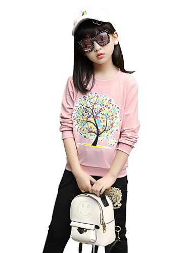 Girls' Others Clothing Set,Cotton Summer Fall Long Sleeve Floral Blushing Pink Light Green