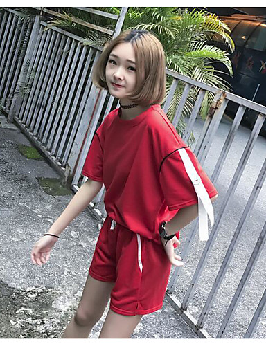 Women's Daily Casual Spring Summer T-shirt Pant Suits,Solid Round Neck Short Sleeve Cotton Micro-elastic