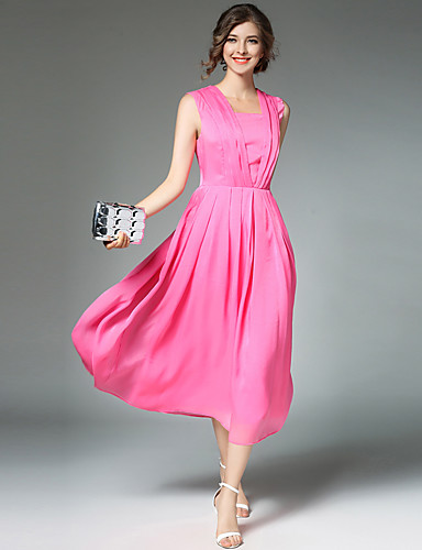 Women's Vintage / Street chic / Sophisticated A Line Dress - Solid Colored / Patchwork Square Neck