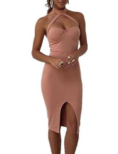 Women's Daily Casual Bodycon Dress,Solid Halter Knee-length Sleeveless Cotton Summer Mid Rise Micro-elastic Medium