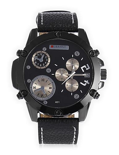 JUBAOLI Homens Quartzo Relógio de Pulso Chinês Calendário Mostrador Grande Couro Banda Relógio Criativo Único Fashion Legal Preta