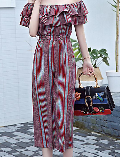 Women's Daily Holiday Casual Boho Fashion Stripe Boat Neck Jumpsuits