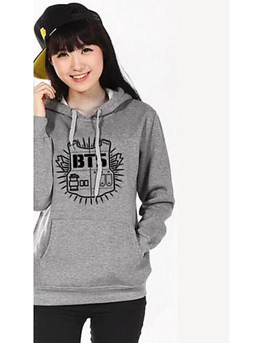 Women's Long Sleeves Cotton Hoodie - Letter