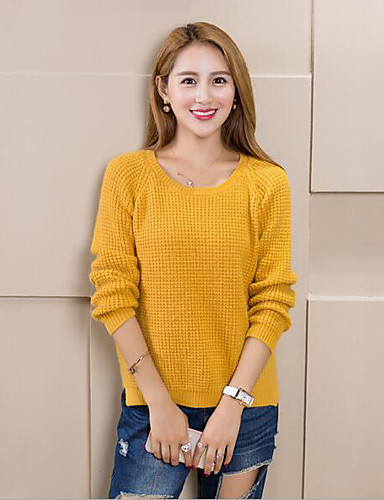 Women's Long Sleeves Wool Pullover - Solid