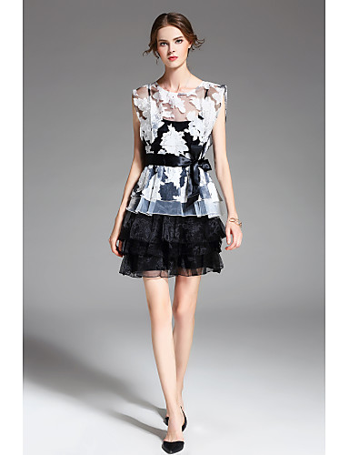 ZIYI Women's Butterfly Sleeves Loose Dress Layered / Pleated / Print