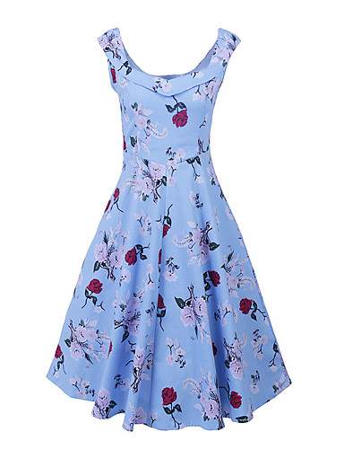 Women's Plus Size Vintage Street chic Sheath Swing Dress - Floral, Pleated High Rise Square Neck