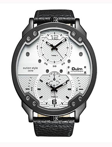 Oulm Brand Vogue Men PU Leather Strap Quartz Watch Waterproof Dual Time Zone Fashion Casual Male Big Size Wristwatches