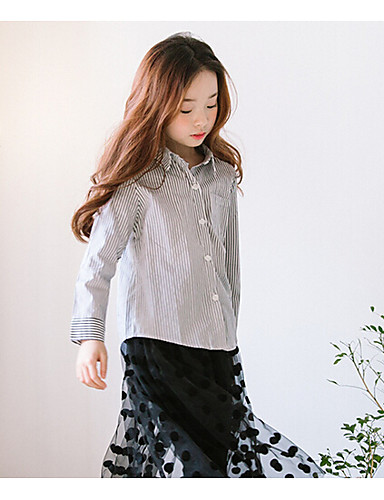 Girls' Stripes Solid Shirt,Cotton Fall