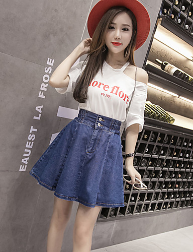Women's Going out Vintage / Street chic Cotton T-shirt - Solid Colored / Textured Skirt / Spring / Summer