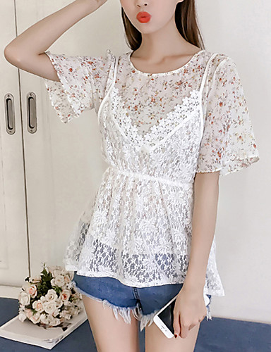 Women's Daily Going out Boho Summer Fall Blouse,Floral Round Neck Short Sleeves Polyester Medium
