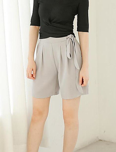 Women's Mid Rise Inelastic Shorts Pants,Simple Wide Leg Solid