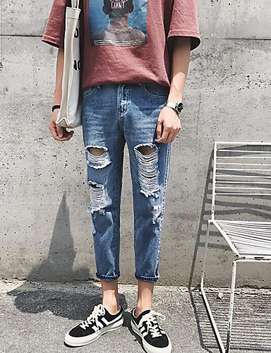 Men's Mid Rise Micro-elastic Jeans Chinos Pants,Street chic Slim Solid