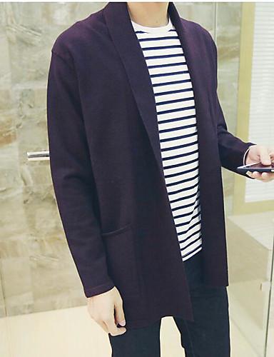 Men's Daily Casual Regular Cardigan,Solid V Neck Long Sleeves Cotton Knitwear Spring Fall Medium Micro-elastic