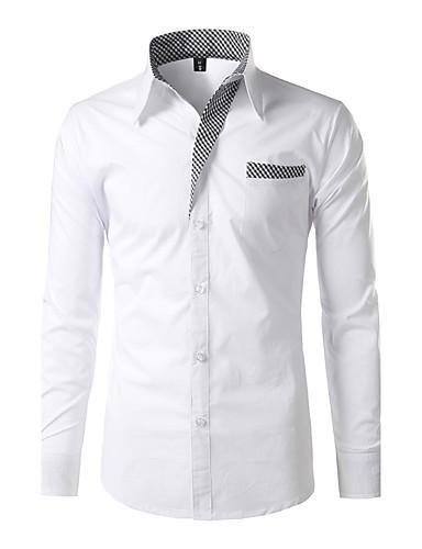 Men's Shirt - Solid Standing Collar