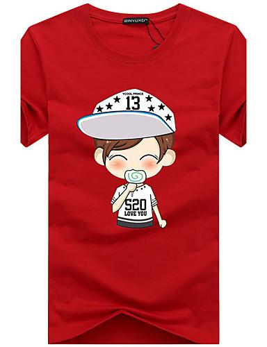 Homens Tamanhos Grandes Camiseta Casual Activo Fashion Estampado Algodão Decote Redondo