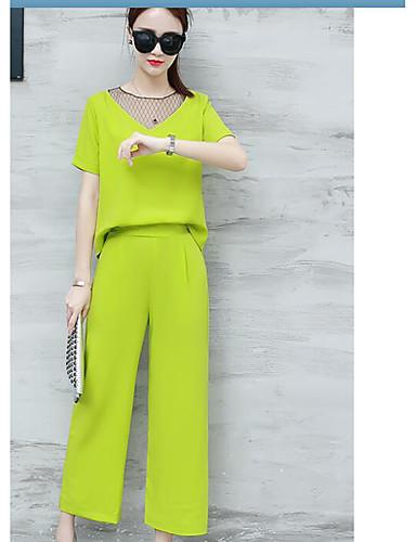 Dame T-skjorte Bukse - Elegant, Ensfarget Med Tekstur