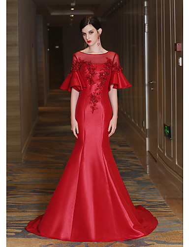 Mermaid / Trumpet Illusion Neckline Court Train Satin Tulle Mikado Formal Evening Dress with Beading Crystal Detailing Flower(s) Lace