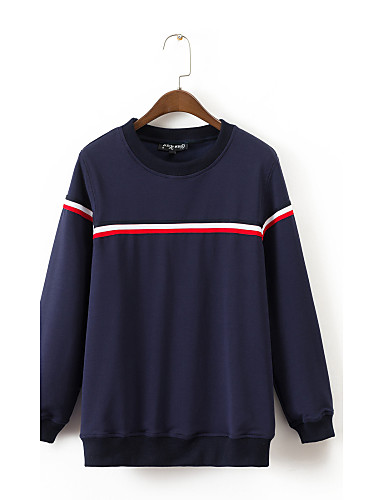 Women's Maternity Going out Daily Sweatshirt Striped Round Neck Micro-elastic Cotton Long Sleeve Winter Spring Fall