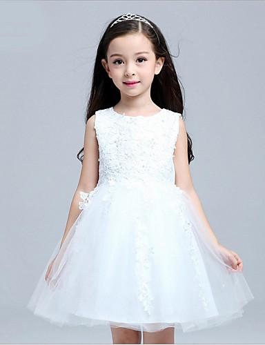 Ball Gown Short / Mini Flower Girl Dress - Organza Sleeveless Jewel Neck with Applique
