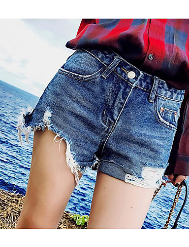 Women's Casual Relaxed / Shorts Pants - Solid Colored High Waist / Summer