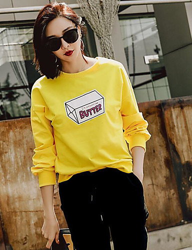 Women's Daily Casual Sweatshirt Quotes & Sayings Round Neck Micro-elastic Cotton Long Sleeve Summer