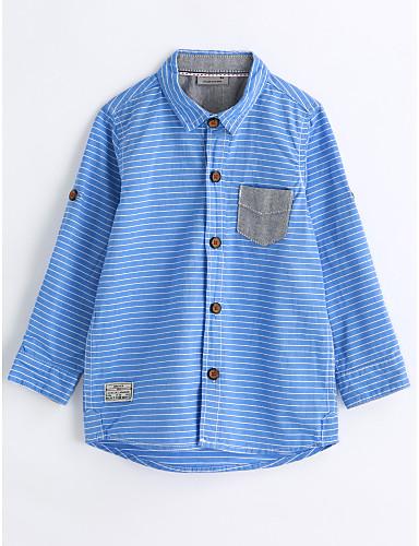 Boys' Stripe Shirt, Cotton Spring Fall Long Sleeves Blue