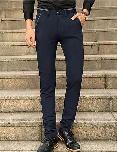 Men's Mid Rise Micro-elastic Straight Pants,Simple Straight Pure Color Solid
