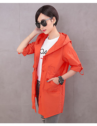 Women's Daily Soak Off Summer Jacket,Solid Round Neck Long Sleeve Regular Polyester