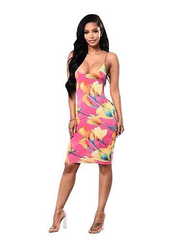 Mulheres Bandagem / Praia Boho Tubinho Vestido - Frente Única / Estampado, Floral Com Alças Altura dos Joelhos