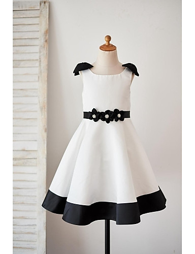A-Line Knee Length Flower Girl Dress - Satin Sleeveless Scoop Neck with Bow(s) Sashes/ Ribbons Flower by LAN TING BRIDE®