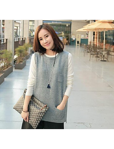 Women's Daily Regular Vest,Solid Print Round Neck Sleeveless Wool Others Winter Fall Medium Micro-elastic