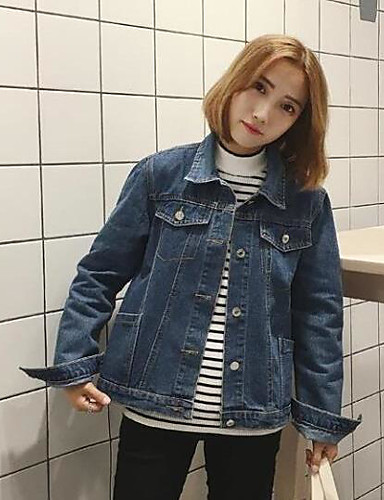Women's Daily Modern/Contemporary Fall Denim Jacket,Solid Square Neck Long Sleeve Regular Others