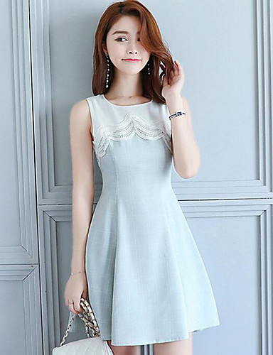 Women's Going out Cute A Line Dress,Solid Round Neck Above Knee Sleeveless Cotton Linen Summer High Rise Inelastic Medium