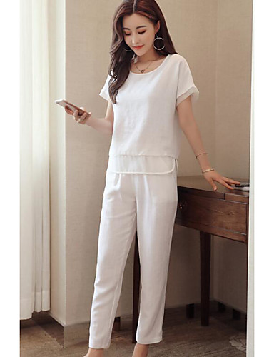 Women's Daily Contemporary Summer T-shirt Pant Suits,Solid Round Neck Short Sleeve Micro-elastic