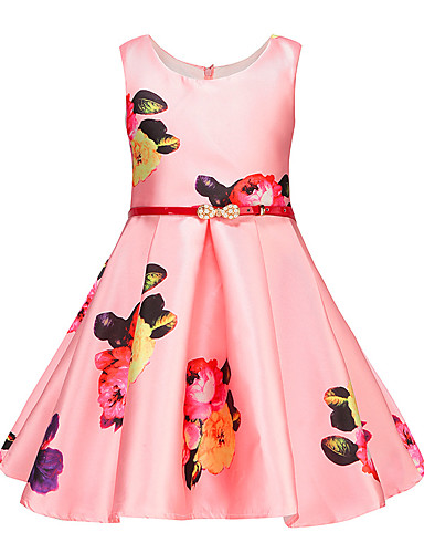 Girl's Floral Dress,Cotton Polyester Summer Sleeveless Floral Blushing Pink