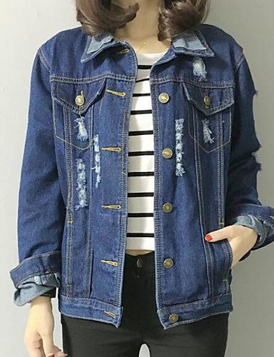 Women's Daily Modern/Comtemporary Spring Denim Jacket,Solid Shirt Collar Long Sleeve Regular Others