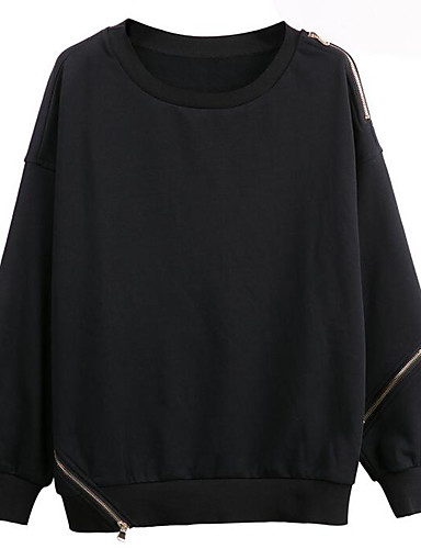 Men's Daily Sweatshirt Solid Round Neck Inelastic Cotton Long Sleeve Fall
