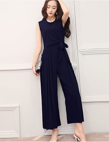 Women's Going out Holiday Casual Fashion Solid Color Round Neck Jumpsuits