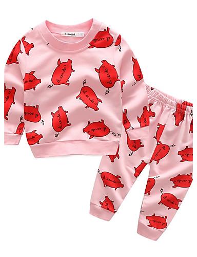 Baby Kinder Baumwolle Lässig/Alltäglich Urlaub Ausgehen Karton Tiermuster Druck Kleidungs Set,Cartoon Frühling Herbst