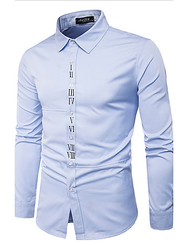 Men's Daily Casual Shirt,Print Shirt Collar Long Sleeves Cotton