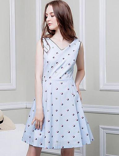 Women's Casual/Daily A Line Above Knee Dress,Print V Neck Sleeveless Summer
