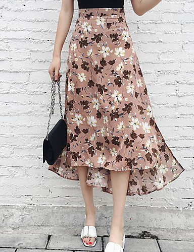 Women's Beach Holiday Asymmetrical Skirts Swing Print Color Block Summer
