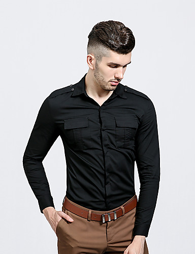 Herrn Solide Street Schick Alltag Hemd, Hemdkragen Langarm Polyester